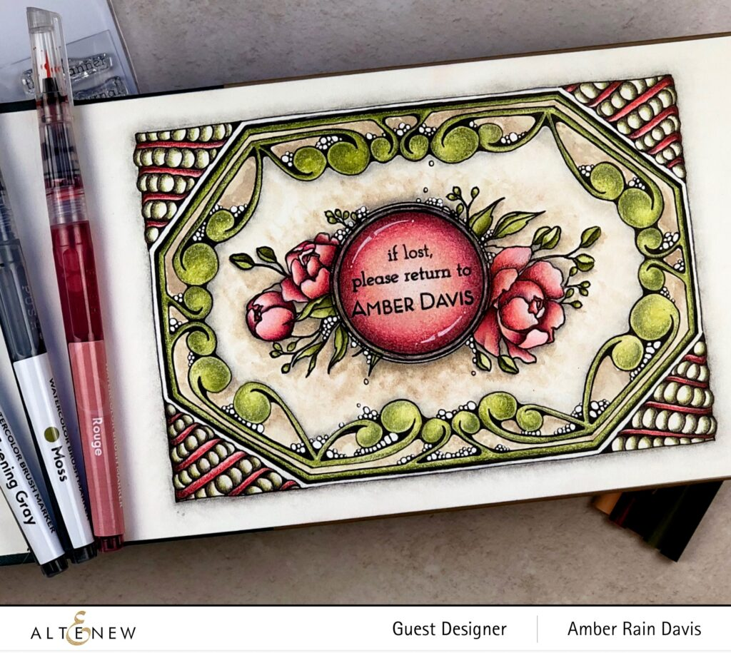 Zentangle® Bookplate with Altenew Book Club Stamp & Selective Inking with Altenew Wallpaper Art
