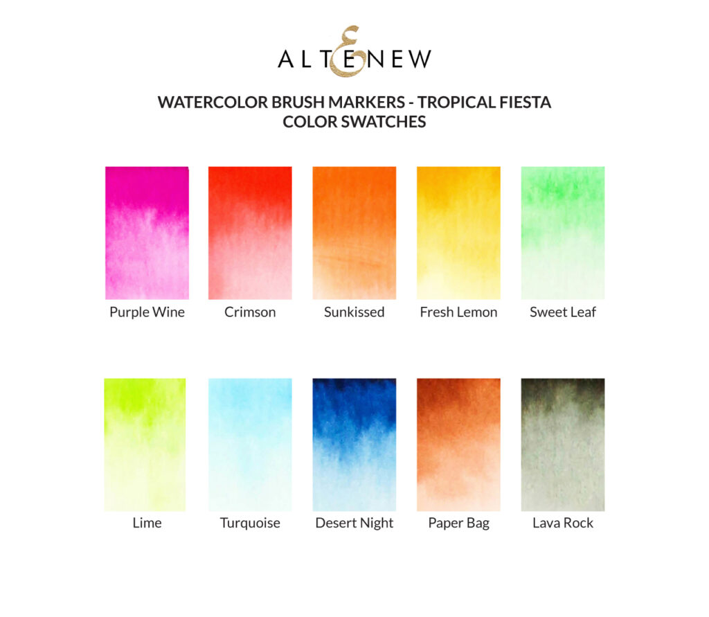 Altenew Tropical Fiesta Watercolor Brush Marker Swatches