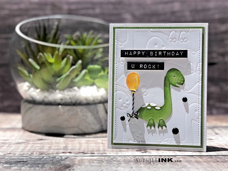 Simon Says Stamp Brontosaurus Picture Book Card